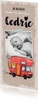 Geboortekaartje avontuurlijk vintage met illustratie