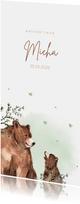 Geboortekaartje beer groene takjes waterverf