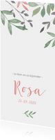 Geboortekaartje botanisch met roze en groene takjes