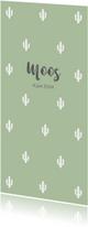 Geboortekaartje cactus groen langwerpig