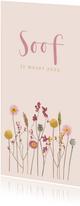 Geboortekaartje droogbloemen roze