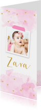 Geboortekaartje  foto aquarel hartjes roze