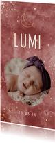 Geboortekaartje gouden maan met foto en wolkjes
