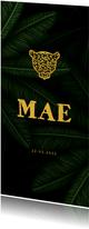 Geboortekaartje gouden panter silhouet met jungle bladeren