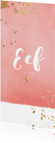 Geboortekaartje gouden spetters roze waterverf