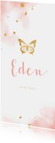 Geboortekaartje gouden vlinder met waterverf
