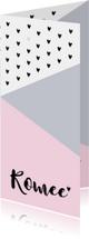 Geboortekaartje grafisch hartjes hip roze