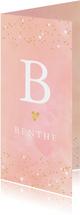 Geboortekaartje hartjes waterverf letter roze