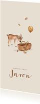 Geboortekaartje herfst met een hertje bij een mozes wiegje