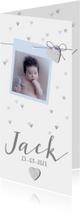 Geboortekaartje hip foto en hartjes lichtblauw