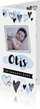 Geboortekaartje hip hartjes en foto blauw