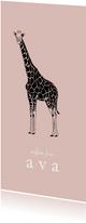 Geboortekaartje hip lijntekening giraf roze