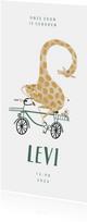 Geboortekaartje hip met giraf op de fiets illustratie