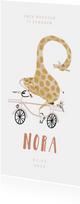 Geboortekaartje hip met giraf op roze fiets illustratie
