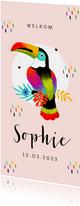 Geboortekaartje hip toekan kleuren tropisch meisje