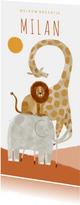 Geboortekaartje hip welkom broertje met dieren illustratie