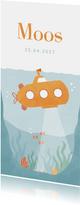 Geboortekaartje illustratie oceaan met onderzeeër