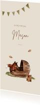 Geboortekaartje illustratie vosje en konijn bij een wiegje