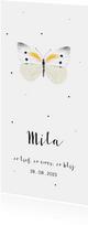 Geboortekaartje illustratie witte vlinder en stipjes
