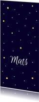 Geboortekaartje in diepblauw met lieve maan en sterren