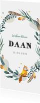 Geboortekaartje jongen bohemian met geïllustreerd vogeltje