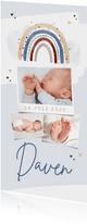 Geboortekaartje jongen regenboog hartjes fotocollage