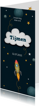 Geboortekaartje jongen space thema raket en sterren