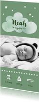 Geboortekaartje jongen stoer olijfgroen sterretjes