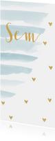 Geboortekaartjes - Geboortekaartje jongen waterverf strepen en hartjes