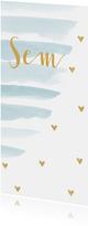 Geboortekaartje jongen waterverf strepen en hartjes