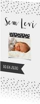 Geboortekaartje lang zwartwit label
