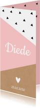 Geboortekaartje langwerpig geometrisch roze dubbel