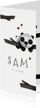 Geboortekaartje langwerpig panda met takjes lief
