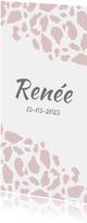 Geboortekaartje langwerpig panterprint roze