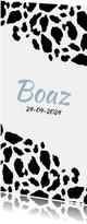 Geboortekaartje langwerpig panterprint zwart-wit
