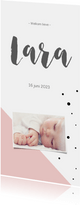 Geboortekaartje_Lara_stippen