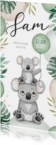 Geboortekaartje lief broertje zusje unisex koala dieren