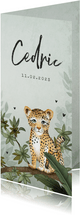Geboortekaartje luipaard botanisch jungle groen