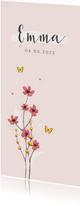 Geboortekaartje meisje bloemen lief hartjes bloemen vlinder