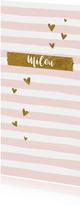 Geboortekaartje meisje gouden hartjes