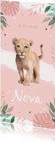 Geboortekaartje meisje leeuw waterverf