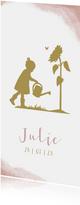 Geboortekaartje meisje met gieter en zonnenbloem