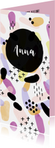 Geboortekaartje meisje met kleurrijk patroon langwerpig
