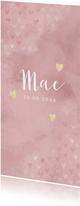 Geboortekaartje meisje roze waterverf en dwarrelende hartjes