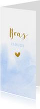 Geboortekaartje met blauwe waterverf en goud hartje