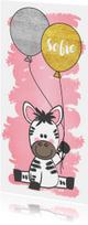 Geboortekaartje met een lieve zebra en twee ballonnen