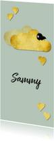 Mooi geboortekaartje met goud accenten en pasteltint