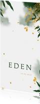 Geboortekaartje met gouden en groene bladeren waterverf