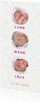 Geboortekaartje met hip Memphis patroon en foto's kleur