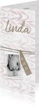 Geboortekaartje met label en waterverf zachtroze